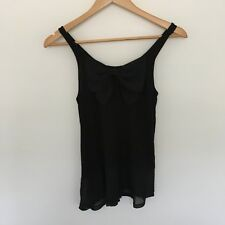 """preloved """"H&M"""" divided black stretchy tank sleeveless top with bow size 8"""