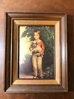 VTG Lithograph Victorian Boy with Dog Framed Picture by A.W DEVIS Master Simpson