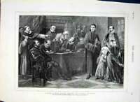 Original Old Antique Print Noble Family Before Council Blood By Soubre 1874 19th