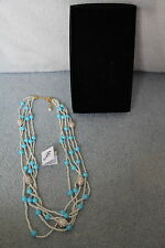 "Joan Boyce FAUX Turquoise & Pearl & Crystal Egg Multi Strand 24"" Necklace NIB"