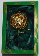 Whitehurst Imports Christmas Ornament Gold Rose Hand Blown Glass Made in Poland