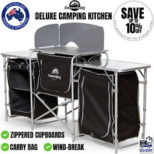 Deluxe Camping Kitchen Foldable Picnic Cupboard Bench Portable Table w Carry Bag
