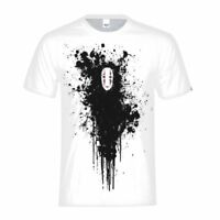Men's T-Shirt Spirited Away Lonely No-Face Print White Basic Tee Casual Top Gift