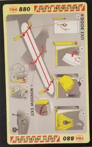 SUPER RARE - TWA Convair 880 Safety Card 1972 1/72 P/N 4928 Mint Condition A506