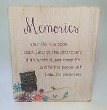 Owl Design Memories Plaque Christmas Gifts Ideas for Her  Friends LT049
