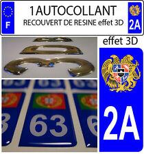 1 sticker plaque immatriculation auto DOMING 3D RESINE ARMOIRIE ARMENIE DEPA 2A