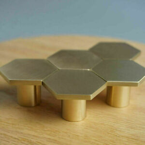 Hexagon Brass Cupboard Pulls Drawer Door Knobs Kitchen Cabinet Gold Handles