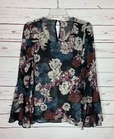 Mystree Anthropologie Women's M Medium Black Floral Ruffle Spring Top Blouse