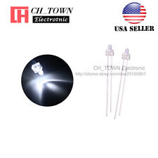 100pcs 2mm LED Diodes Water Clear White Light Round Top Transparent USA