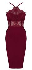 BCBG MaxAzria lace Cocktail Dress Bodycone Bandage Wine A907 *L