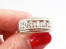 ART DECO 14K WHITE GOLD MAN'S DIAMOND  RING, FEATURE RING CO, HALLMARKED, 8 3/4