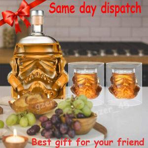 3 x Star Wars Stormtrooper Glass Decanter Drinks for Whisky Sherry Liquor Set UK