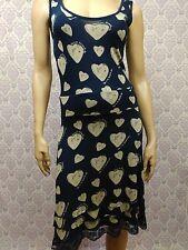 Desigual Sleeveless Stretch Dress Womens Size S Navy Blue Lace Trim Heart Print