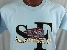 San Francisco CA Baby Blue Graphic T Shirt 100% Cotton XL X-Large