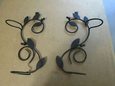 PAIR OF BLACK METAL SCROLLS SWIRL WALL CANDLE SCONCES FOR GLASS VOTIVE HOLDERS