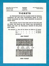 Sheffield Transport Leaflet ~ Tickets: Setright Machine Decimal Conversion 1970