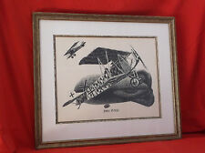 """Rare Antique """"fokker D-VII"""" Aircraft Ink by Harry Borgman-Triple Matted/Framed"""