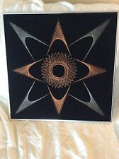 VINTAGE MID CENTURY MODERN COPPER WIRE NAIL ART PLAQUE FRAMED ATOMIC STAR