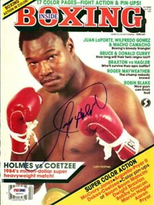 Larry Holmes Autographed Signed Inside Boxing Magazine Cover PSA/DNA COA S49103