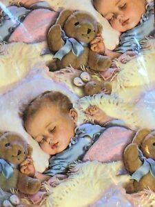 Vintage American Greetings Baby Sleeping Gift Wrap Paper 8.33 Sq Ft Shower Teddy