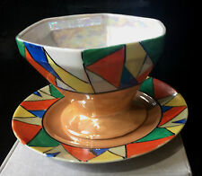 Vintage Art Deco Sauce Bowl With Under Plate Absract Design