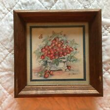 Distressed Framed Matted Victorian basket of strawberries By Ava Freeman