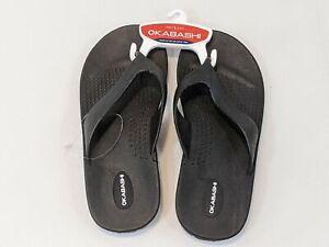 Okabashi Mariner Men's Flip Flop Sandals Black Soft Upper Strap Size L 8-8.5 002