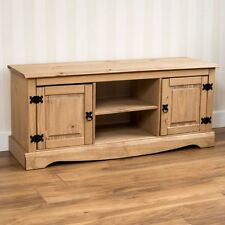 Corona 2 Door 1 Shelf Flat Screen TV Unit Solid Waxed Pine Mexican Home Discount