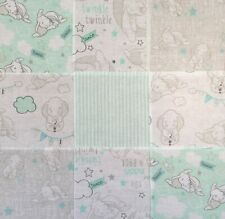 Disney Dumbo 30 Cotton Fabric Patchwork Squares Quilting Craft Mint Grey White