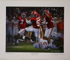 """Alabama football 2009 Championship """"The Pick Six"""" print signed by Daniel Moore"""