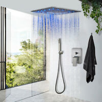 Brushed Nickel Shower Faucet System Set 12 inch LED Rainfall Ceiling  Mounted