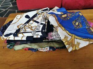 Gros lot de 20 foulards, étoles, écharpes etc... neufs rose, bleu, vert...