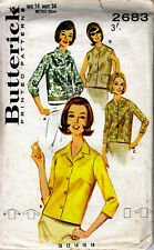 """VINTAGE SEWING PATTERN BUTTERICK 2683 BLOUSES 4-STYLES SLEEVE/LESS 34"""" UNCUT M9A"""