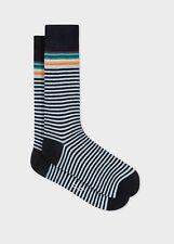 Paul Smith Mens Italian Socks Artist Top Stripe Navy K858 One Size Cotton Mix