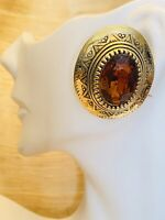 VTG Runway Earrings Etruscan Couture Gold Oval 80s Topaz Rhinestone Statement