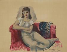 Leon Kroll Early Vintage Feminine Portrait Reclining on Sofa Signed Plate  #304