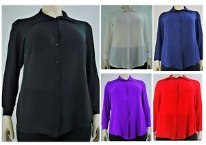Women's Full Sleeve Button Down Collar Shirt Blouse Tunic, Plus Size 14-32