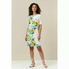 Wallis Round neck White Yellow Floral Summer Midi Shift Party Dress 12 14 16 18