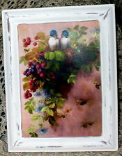 SHABBY VINTAGE WOOD FRAME CHIC VICTORIAN BIRD BERRY BEE PRINT COTTAGE DECOR