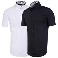 UK Men's Button Down Casual Shirts Long Sleeve Black White Slim Fit Top XL,L,M,S