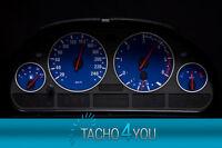 Tachoscheiben für BMW Tacho E39 Benzin oder Diesel M5 BLAU 3077 Tachoscheibe X5