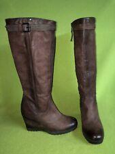 Brownish Burgundy MJUS Knee-High Wedge Boots 7.5 38
