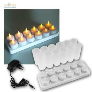 12er Set LED Akku-Teelichter m Gläsern & Ladestation, LED-Kerzen wiederaufladbar
