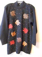 Vintage Evan Davies M Women's Sweater Black Gold Beading Lambs Wool Angora Nylon