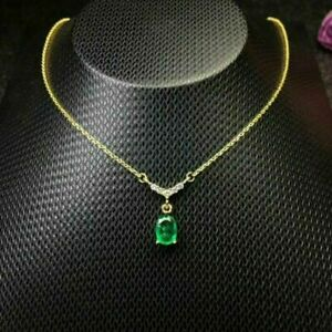 14K Yellow Gold Over 4.50ct Diamond Colombian Emerald Pendant Stunning Necklace