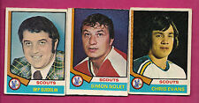 1974-75 OPC SCOUTS GUIDOLIN + EVANS + NOLET CARD