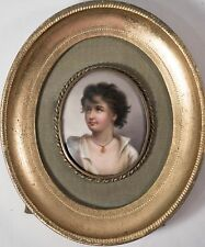 Antique Italian Oil Painting Miniature Portrait, Young Man on Porcelain, Framed!