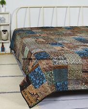 Indian Vintage Ikat Silk Kantha Patchwork Handmade Quilt Blanket King Size Throw