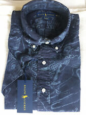 NWT Polo Ralph Lauren Mens Slim-Fit Indigo Printed Shirt  Indigo Size L $98.5