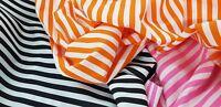Striped Polycotton fabric 1CM Stripes Black Orange Pink Stripe Free Samples UK